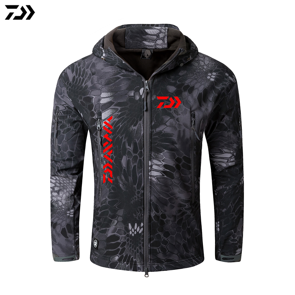 Daiwa Jacket Crepe Fishing Clothing For Men Autumn Winter Waterproof Keep Warm Fishing Clothes Camouflage Hooded Fishing Jacket