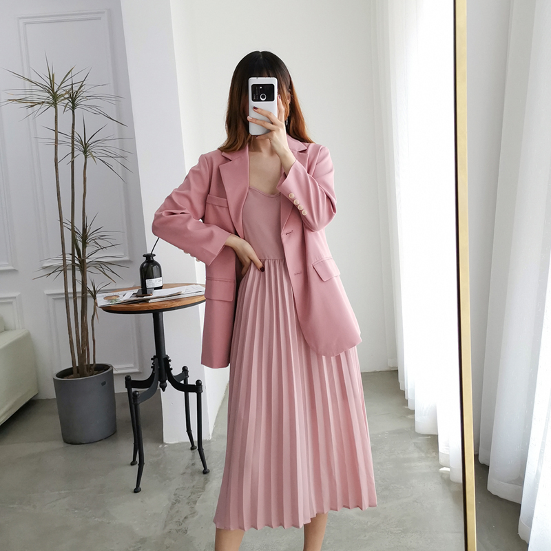 HAMALIEL Plus Size Women 2 Piece Set Dress Spring Pink Turn Down Collar Blazers Set + Sexy Halter Pleated Midi Skirt Suit L-4XL