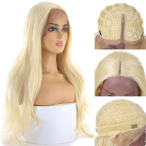 Image 5 - Ombre sarışın renk dantel ön peruk siyah kadınlar için X TRESS uzun doğal dalga sentetik dantel peruk doğal saç çizgisi ile orta kısmı
