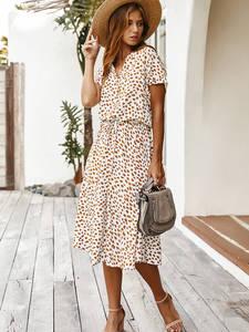 Midi Dress Tunic Short-Sleeve Holiday Dots Boho Print White Summer Casual Jessie Vestidos