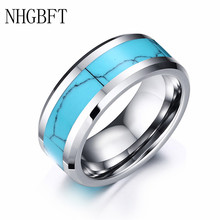 цена NHGBFT 8mm wide genuine tungsten carbide rings natural stone men tungsten ring male jewelry онлайн в 2017 году