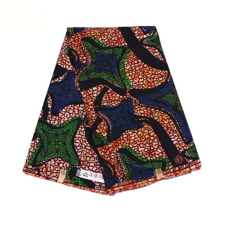 2019 Newest Design African Fabric Guarantee Real Wax Blue & Green Pattern Print Fabric