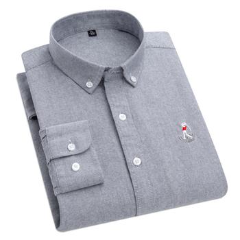 AOLIWEN mężczyźni 100 szara bawełniana tkanina Oxford jednokolorowa miękka szczupła biznesowa koszula z długim rękawem trójwymiarowa koszula z kołnierzykiem tanie i dobre opinie CN (pochodzenie) COTTON KOSZULE CODZIENNE Pełne Wykładany kołnierzyk Jednorzędowe REGULAR 2LLK-LM5-LDBL Sukno Na co dzień