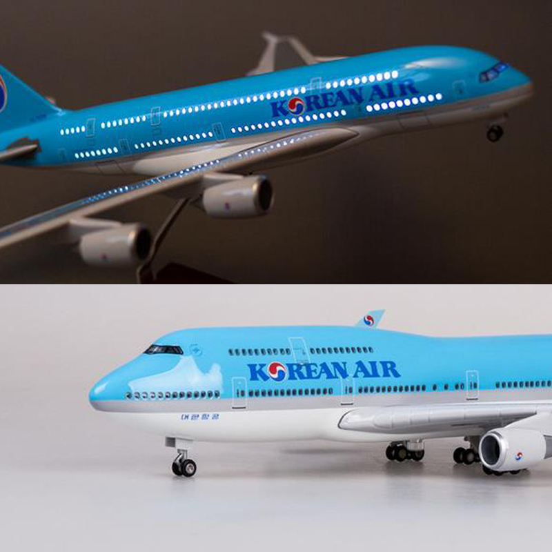 47cm 1/150 Scale Aircraft Model Korean Airline Boeing B747 A380 Airplane WIth Light Wheels Resin Plane Model For Collection image