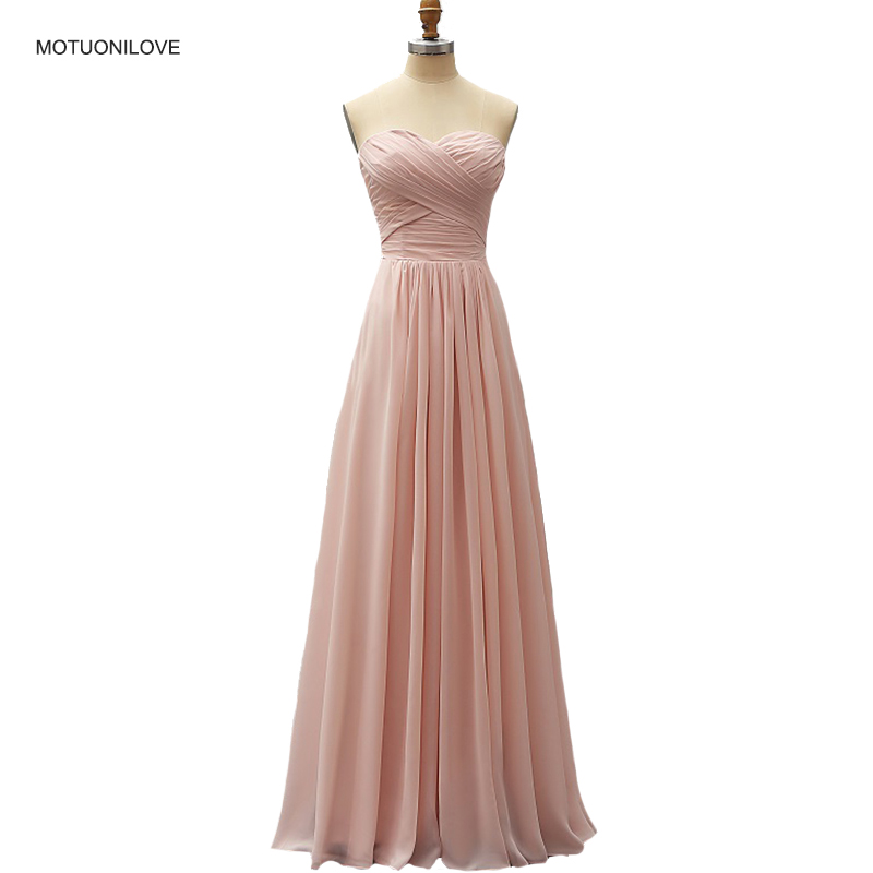 2019 Hot Lace Up Long Bridesmaid Dresses Dusty Pink Strapless A Line Floor Length Chiffon Formal Prom Gown Wedding Party Dress