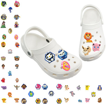5pcs PVC Jibz For Croc Shoes Charms Decoration Classic Cartoon Lion Eevee Jigglypuff Octonauts Cat Shoe Accessories Kids Gift