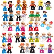 Duplo amigos figuras conjunto blocos mãe pai estatueta crianças brinquedos modelo educacional compatível duplo fdiy tijolos presente de natal crianças