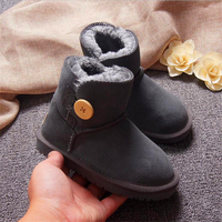 Australia Kids Snow Boots Boys And Girls Snow Boots Cowhide Real Fur Shoes Children Geanuine Leather Shoes Insole Length 14 22cm
