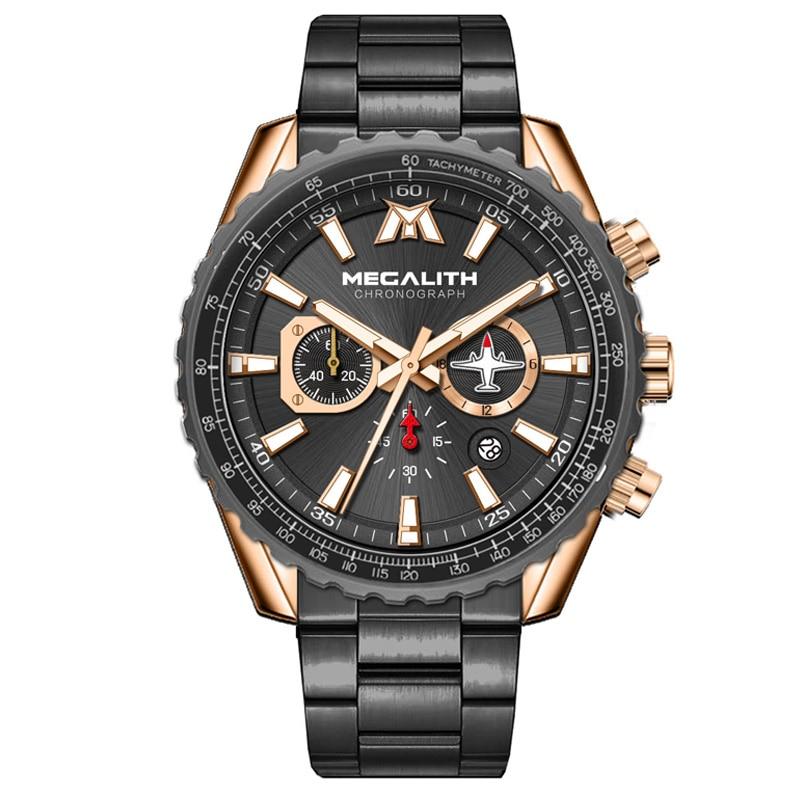 Relogio Masculino 2019 MEGALITH الرياضة ساعة الرجال الطائرات مؤشر تاريخ التقويم رجالي ساعات فاخرة مقاوم للماء ساعة كوارتز للرجال-في ساعات الكوارتز من الساعات على AliExpress