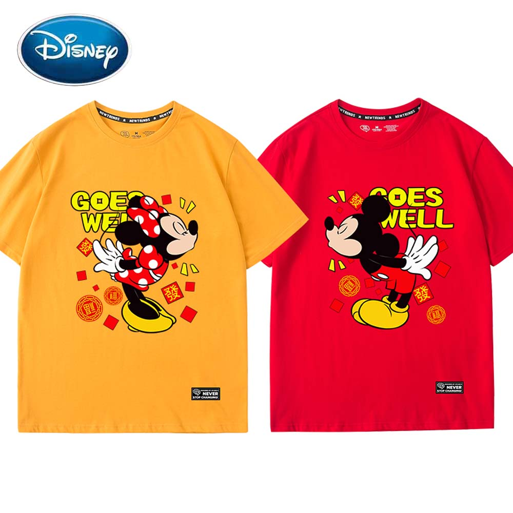 Disney Cute Minnie Mickey Mouse Cartoon Letter Print Cotton Unisex Women T-Shirt O-Neck Pullover Short Sleeve Tee Tops 6 Colors