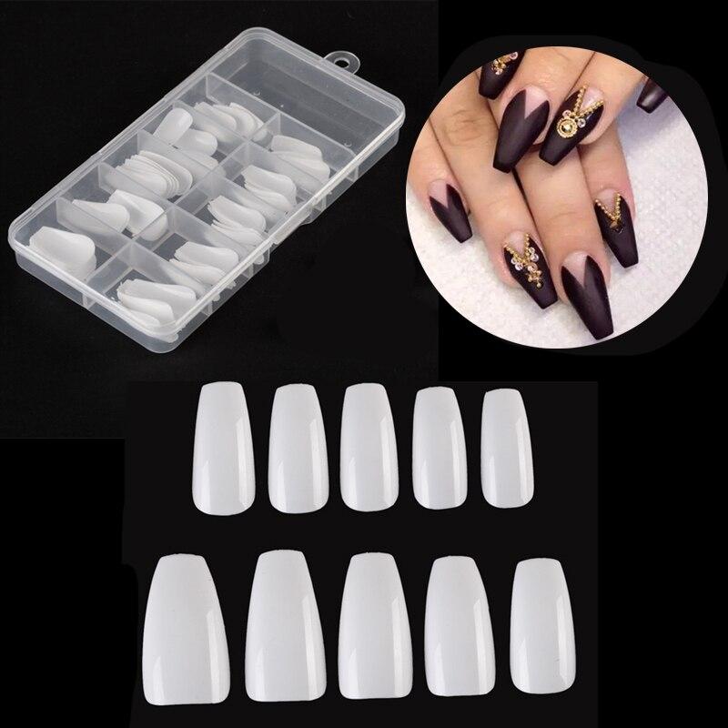 Lamemoria 100pcs/box Fake Nails Artificial Long Ballerina Clear /Natural /white False Nails Tips Full Cover Coffin Nail Art