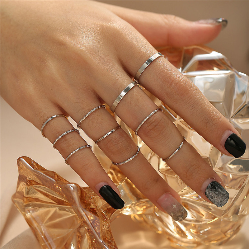 Modyle Fashion Simple Design anillos Vintage Gold Silver Color Joint Rings Sets for Women Jewelry Korean Version Joint