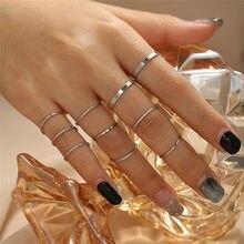 Modyle moda simples design anillos vintage ouro prata cor conjuntos de anéis conjuntos para jóias femininas versão coreana comum