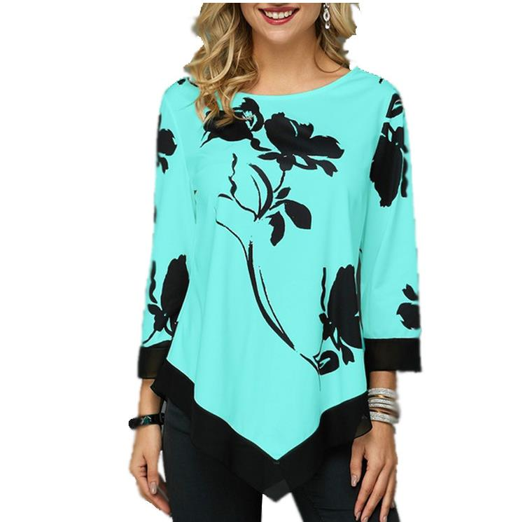 Hb0baa52154d04c7a82ba1853294e057fE - Floral Printed Women Shirt Asymmetric Hem Summer Blouse For Woman Flower Print Tops Blusas Fashion Female Camisa shirts