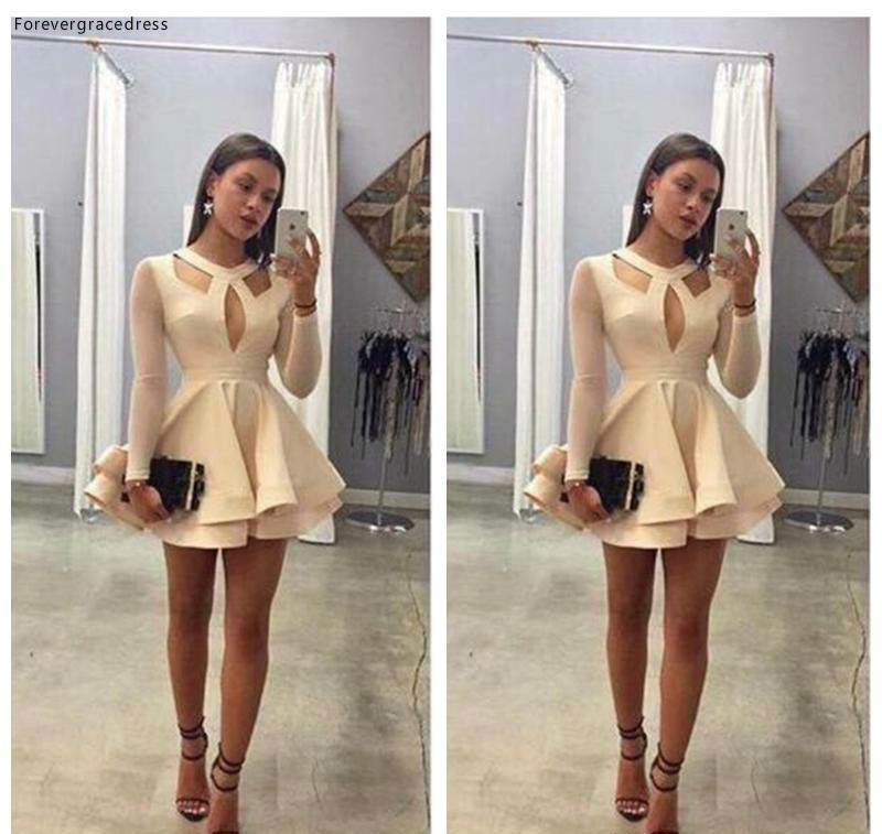 2019 Cheap Short With Long Sleeves Homecoming Dress A Line Juniors Sweet 15 Graduation Cocktail Party Dress Plus Size
