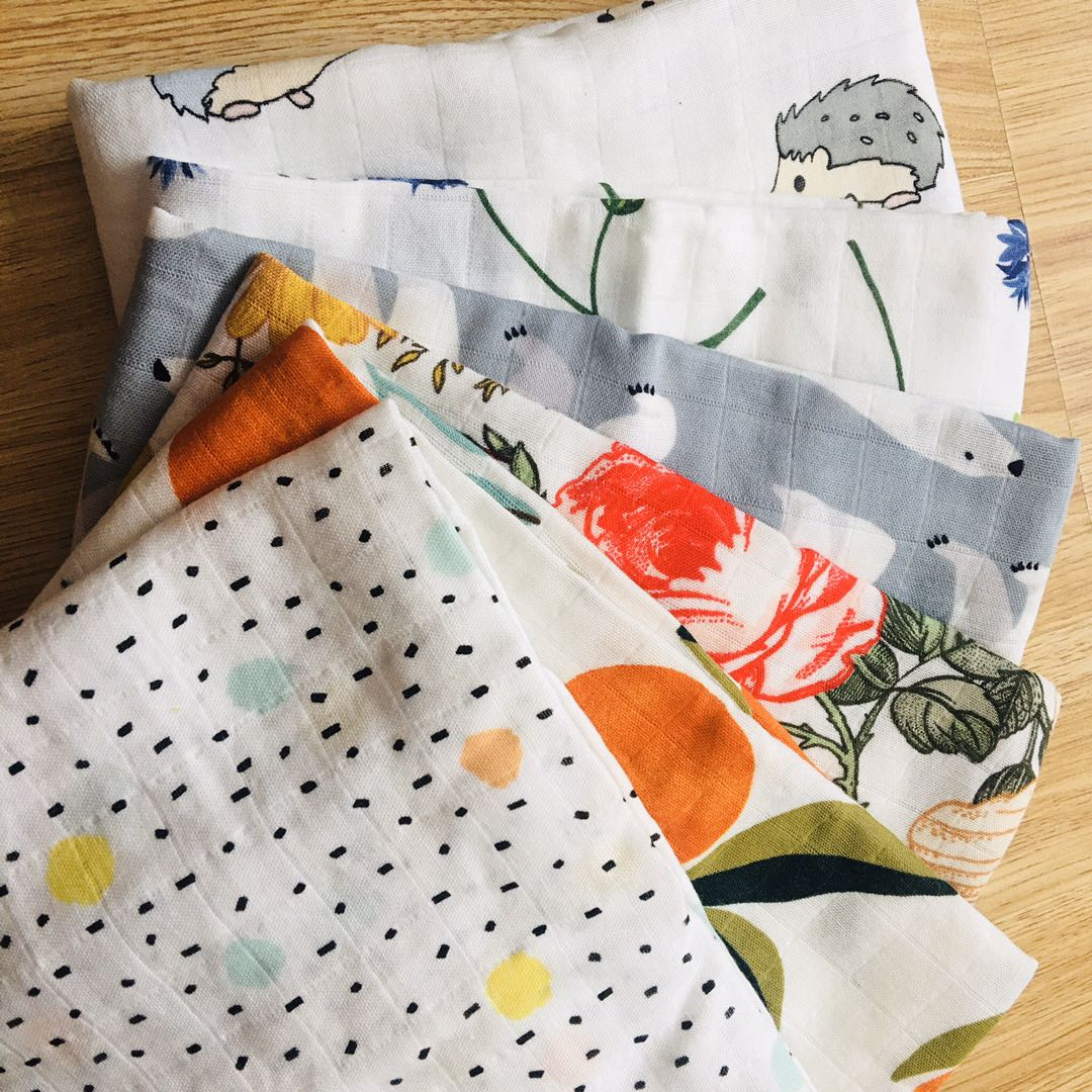 70%bamboo+30% Cotton Muslin Swaddles Wrap Burpy Towel Scraf Bibs Muslin Baby Blankets Newborn Diaper Pielucha 60*60cm