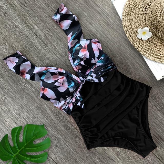 2020 Sexy New Ruffle One Piece Swimsuit Off The Shoulder Swimwear Women Swimsuit Deep-V Bathing Suits Beach Wear Swim Suit 5