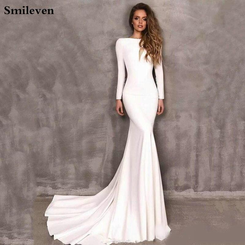 Смайлик Русалка Свадебные платья с длинным рукавом Элегантный Бохо атласное платье невесты Свадебные платья 2020 Vestido De Noiva