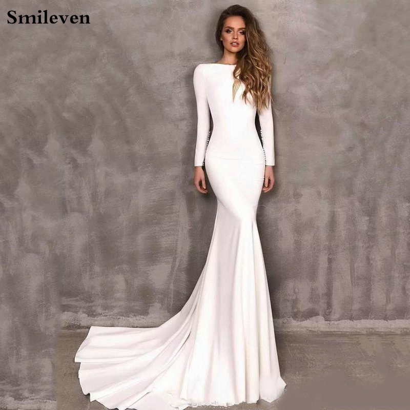 Smileven Bride Dress Satin Mermaid Long-Sleeve Boho Elegant Vestido-De-Noiva title=