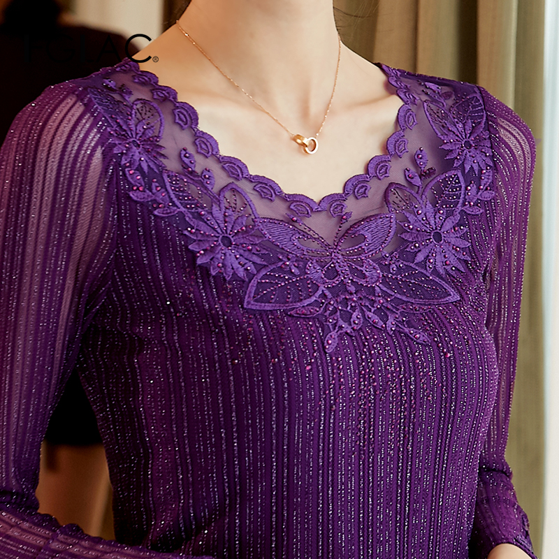 Women   blouse     shirt   Fashion Long sleeve Autumn tops Elegant Slim Embroidered Lace   shirt   plus size women tops and blusas