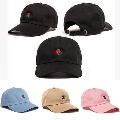 Fashion Unique Adjustable Embroidered Rose Men Hats Hot Sale Rose Embroidered Women Hat Baseball Ladies Cap