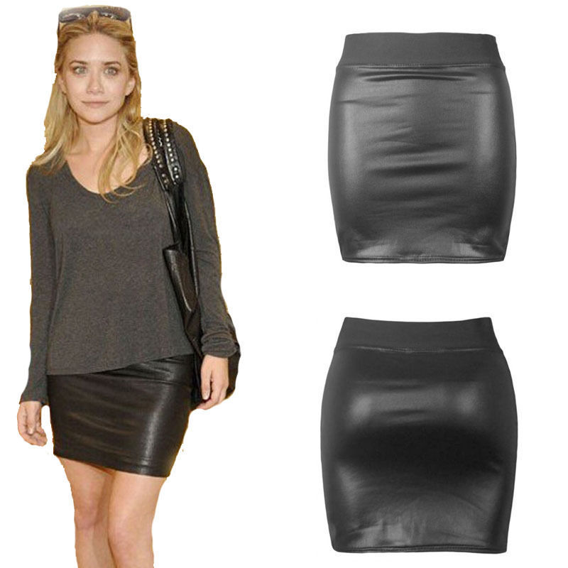 Wet Look Faux Leather Pencil Bodycon High Waisted Skirt Black