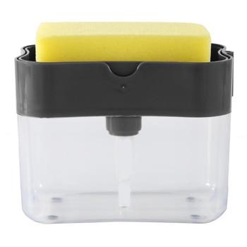 2-in-1 Pump Soap Dispenser Sponge Caddy For Home Kitchen Scrubber Holder Case 13 oz