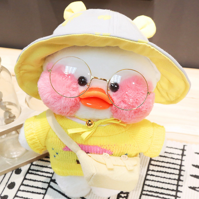 30cm Cartoon Cute LaLafanfan Cafe Duck Plush Toy Stuffed Soft Kawaii Duck Doll Animal Pillow Birthday Gift For Kids Children