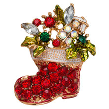 Crystal Rhinestone Boots Brooches Pins Women Cute Red Color Christmas Shoes Brooch Coat Scarf Broches Fashion New Year Jewelry fashion christmas wreath brooch cute jewelry christmas gift pins and brooches crystal mosaic collar clip scarf buckle jewelry