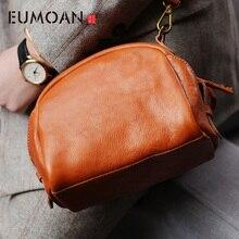 EUMOAN  womens bag, leather small shell handmade cowhide retro foreign gas crossbody bag