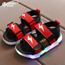 Size 21-30 Children Open-toe Glowing Sandals Unisex Luminous Shoes for Baby Breathable Non-slip Shoes Girls Led Light Up Sandals cheap Mater Kom Rubber 7-12y 13cm 13 5cm 14cm 14 5cm 15cm 16cm 17cm 17 5cm 18cm CN(Origin) Summer Sport Sandal Lighted Anti-Slippery