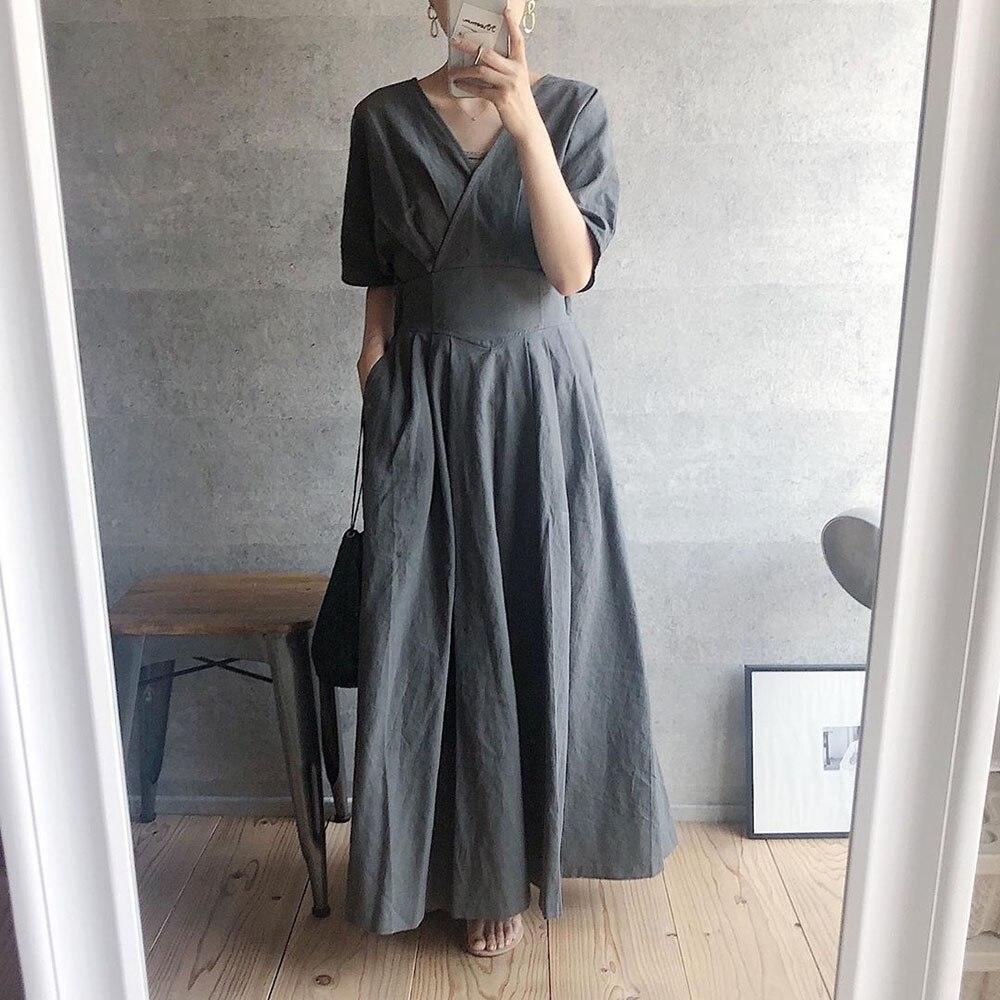 Plain Women Long Dress Elegant Office Lady Work Maxi Dress Femme Vestiods 2020 Summer Fashion Janpan Style A Line Dress Casual