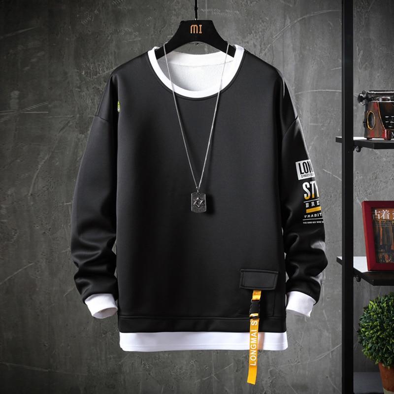 GURUNVANI Mens Contrast Raglan Long-Sleeve Pullover Blend Fleece Hoodie with Kanga Pocket/…