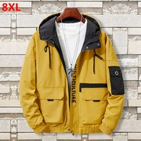 New men's clothing plus size 8XL jacket Brother trend hooded youth thin men's student jacket 7XL 6XL