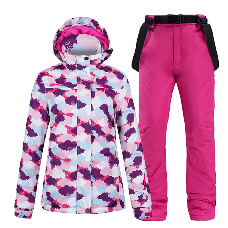 Women Snow Wear Outfit Snowboarding Suit Sets Waterproof Windproof Winter Clothing Outdoor Costume Ski Jacket + Strap Snow Pant