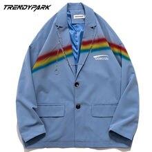 Мужской пиджак с радужным принтом уличная одежда в стиле хип