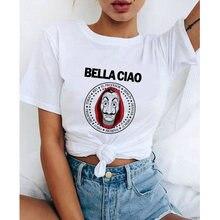 2020 la casa de papel mulher camiseta roubo tees estação de tv bella ciao mulher streetwear casa de papel engraçado harajuku camiseta