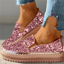 SHUJIN Women Flats Crystal Ladies Glitter Bling Loafers Flat Platform Fashion Woman Spring Casual Moccasins Female Shoes 2020(China)