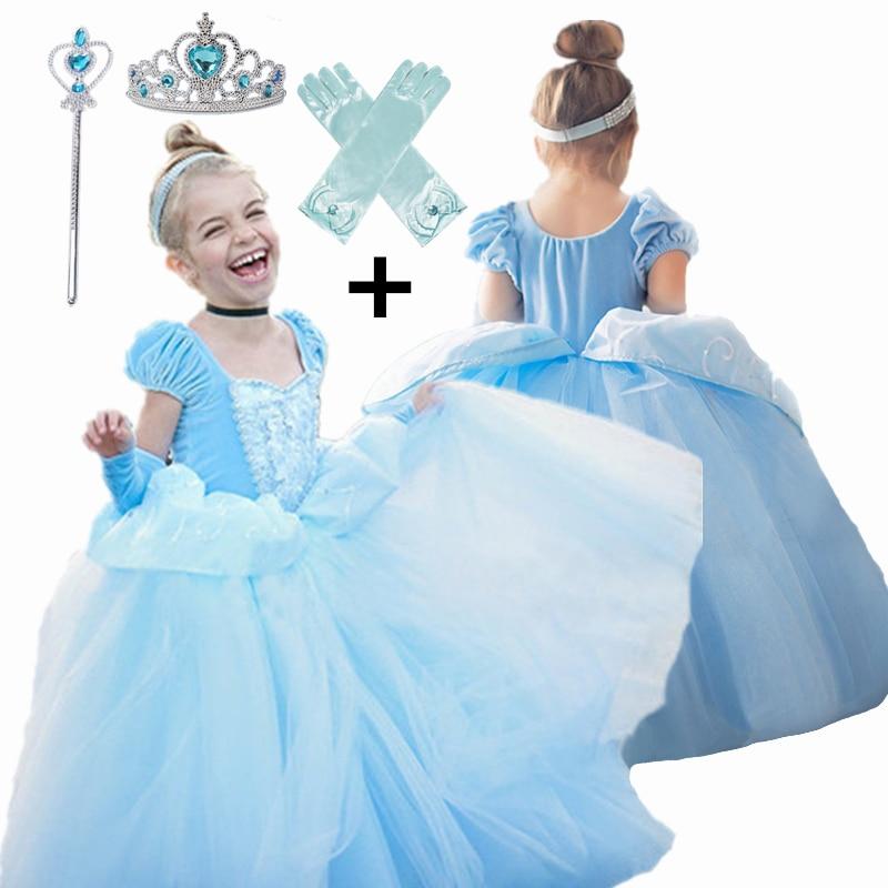 Костюм Золушки для косплея, детская одежда для девочек, платье, бальное платье для маленьких девочек, платья принцессы для дня рождения, Коронные перчатки