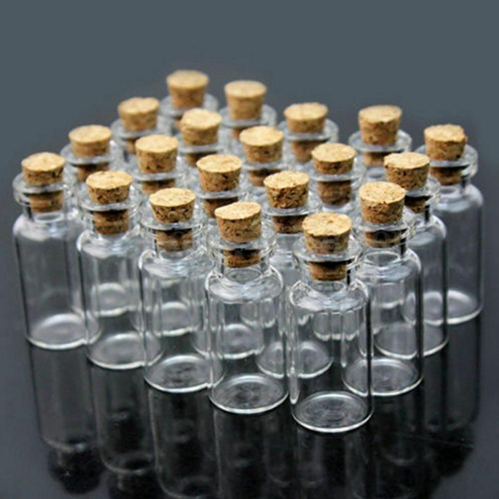 50pcs Mini Clear Glass Bottles Message Vials Jars Cork Stopper Glass Vial Wishing Drift Bottle Container Decoration Crafts