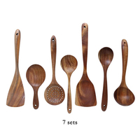 7pcs/set Teak Natural Wood Tableware Spoon Ladle Turner Rice Colander Soup Skimmer Cooking Spoon Scoop Kitchen Reusable Tool Kit