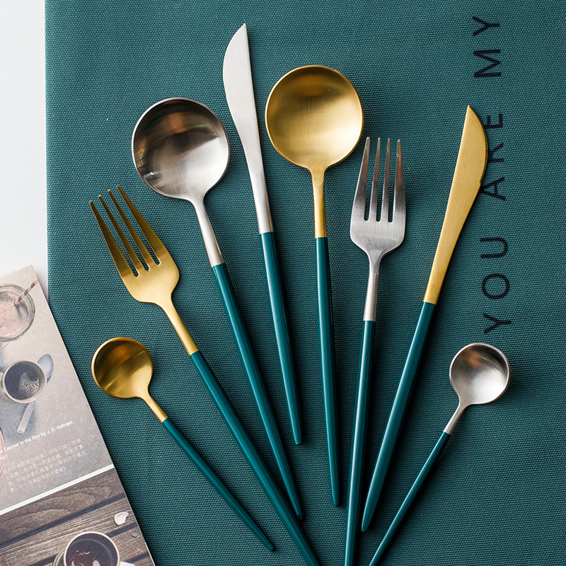 24Pcs/set Dinnerware Set 304 Stainless Steel Black Gold Cutlery Set  Knife Fork Set Flatware Tableware Silverware Drop Shipping 6