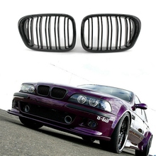 Glossy Black Front Hood Kidney Grille Grill ABS Dual Line Compatible for BMW E39 5-Series 525 528 1995-2004 Bumper
