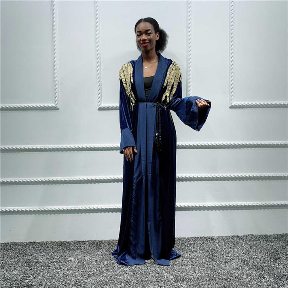 Olśniewająca aksamitna Abaya kardigan kimono muzułmański hidżab sukienka Abayas dla damska suknia Kaftan dubaj Kaftan Marocain katar islamska odzież