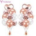 20 шт., латексные воздушные шары с конфетти в форме сердца из розового золота