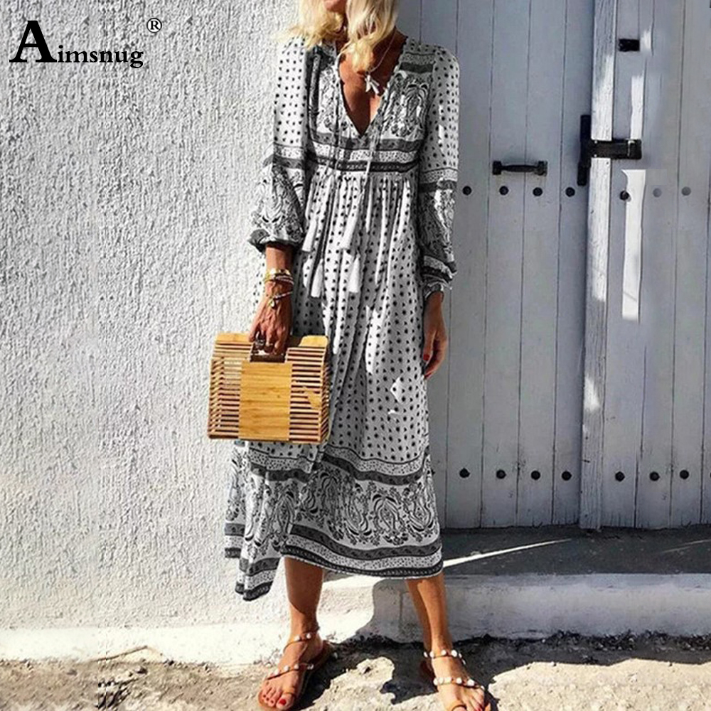 Aimsnug 2020 Summer Women Elegant V-neck Long Dress Patchwork Boho Print Party Dresses Plus Size Ladies Vintage A-Line Dress