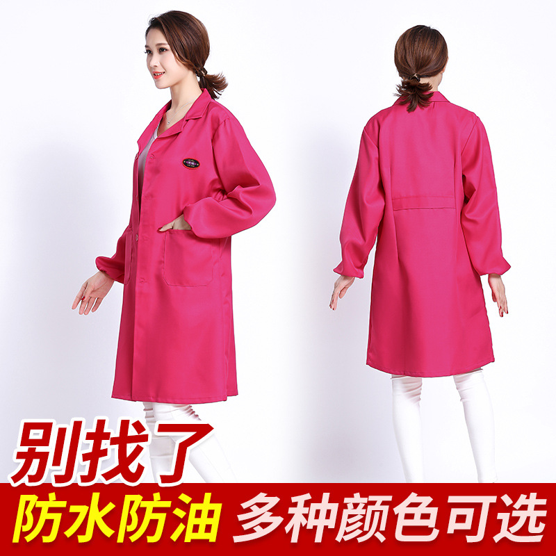 Fashion Slim Fit Overclothes Women's Adult Long Sleeve Apron Mid-length Blue Gown With Dustproof Antifouling Protective Clothing
