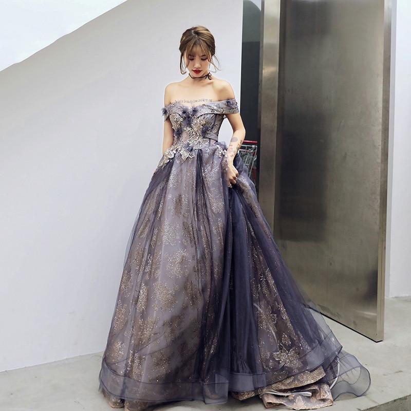 FZSLCYIYI Fashion New Banquet Elegant Trailing Evening Dress Sequins Appliques Trailing Prom Formal Gown Vestidos De Noche