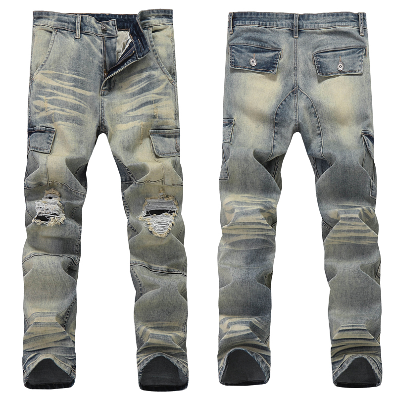 Skinny Jeans Men Jean Homme Ripped Spijkerbroeken Heren Pants Biker Slim Fit Denim Pant Trousers Special High Quality Soft