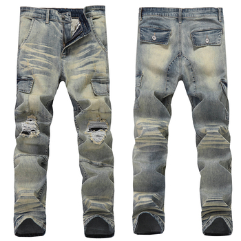 Skinny Jeans Men Jean Homme Ripped Spijkerbroeken Heren Pants Biker Slim Fit Denim Pant Trousers Special High Quality Soft 2016 new arrived men s biker jeans bule casual slim distressed denim hiphop pant for male hots jean designer skinny trousers